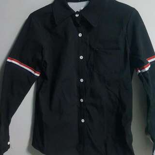 Black Long Sleeve Shirt With Detailed Arm
