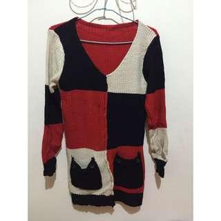 拼接針織毛衣