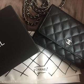 Chanel Woc Caviar Black Silver Hardware