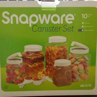 Snap ware Canister 10pcs Set, BPA Free, Air Tight Leak Proof, Flip Top