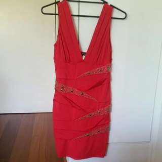 Pretty Red Dress With Jewels, Size Medium, Worn Once