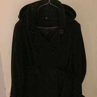 short black wool coat with removable hood size medium