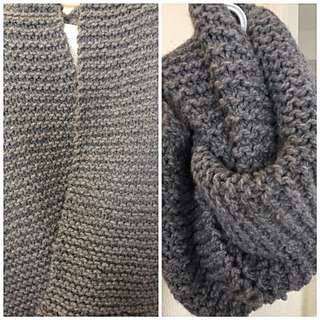 Hand Knitted Infinity Scarf Grey