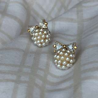 CZ Bow and Pearl Stud Earrings