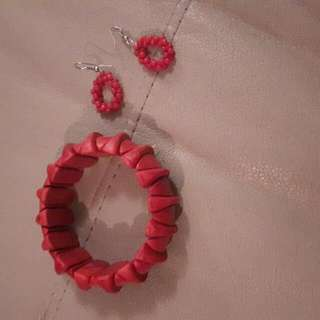 Red Earrings And Bracelet