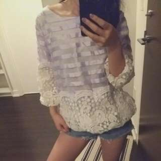 Organza Lilac Stripe Lace Top
