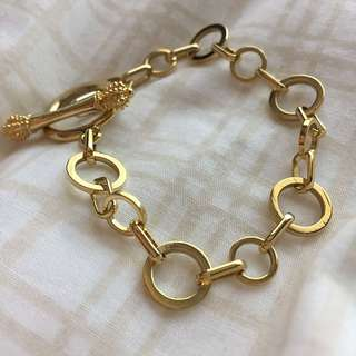 Yellow Gold Circle And Fob Simple Chain Bracelet