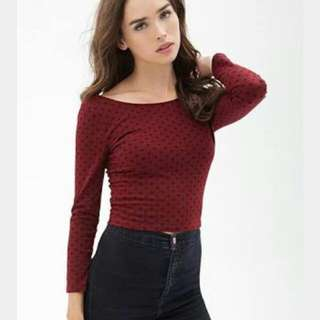 Polka Dot Maroon Top