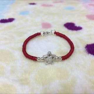 純銀蠶絲蠟線手環-寶寶 彌月 福氣 星星