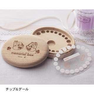 【日本迪士尼】乳牙 小小孩 木製 收藏盒 日本製 牙齒 Disney 米奇 奇奇蒂蒂