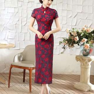 Red Blue Lace Long Cheongsam