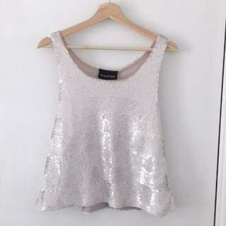 MINK PINK Womens White Sequin Racerback Top Size Small