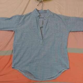 【年終降價+免運】直條紋襯衫(淡藍色)