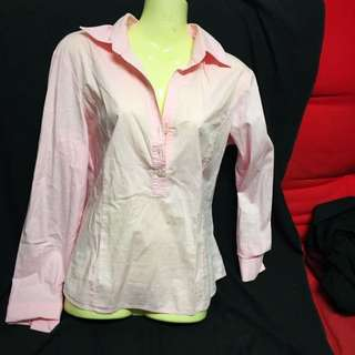 Long Sleeve Pink Work Shirt