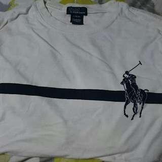 White And Navy Blue Polo Ralph Lauren Crew Neck Shirt