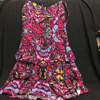 Front Zip Colourful Dress