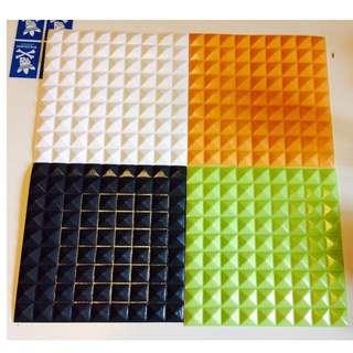 3D 立體彈性壁貼 30cm X 30cm 菱格鉚釘款(牆貼 壁紙 防撞 防潮 壁癌 防水 抗菌 防蛀)