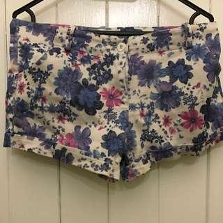 Purple And White Pattern Shorts
