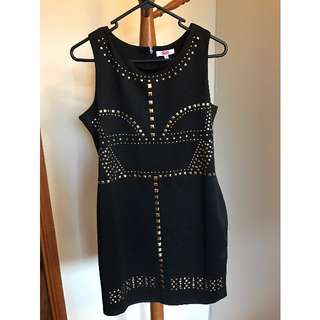 SES Black dress with gold studs