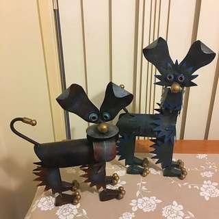 Tin Dog Statues