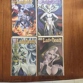 Comics: Lady Death (3 Sets: Tribulation, The Rapture and Judgement War) Plus 9 Loose Issues