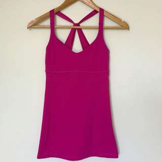 LULULEMON Size 2 Bright Pink Athletic Wear Exercise Top With Built In Bra