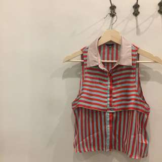 Atasan Forever 21 Stripes Red & Grey