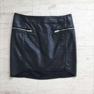 Black Leather Skirt With Zips