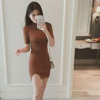BN CAMEL BROWN KNITTED BODYCON WORK DRESS