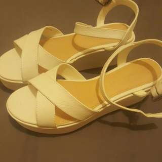Brand New White Wedges - Size 8