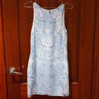 Forever New Pastel Blue Paisley Dress