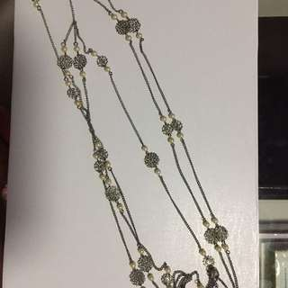 Forever 21 Layered Necklace ( Silver With Pearl Accent)