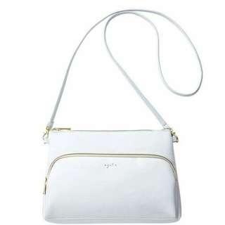 日本雜誌款軟PU 白色 Agete 拉鍊斜挎包袋