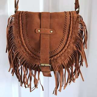 Boho Fringe Cross-body Bag (Brown)