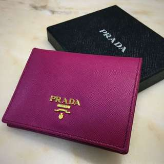 正品酒紅色Prada 短款銀包