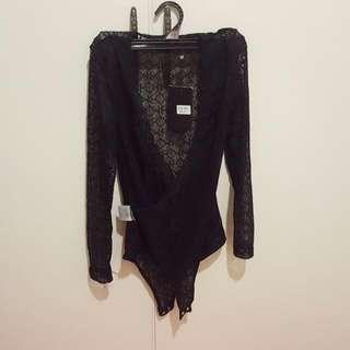 Naanaa Lace Wrap Bodysuit