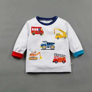 🚚 現貨✨可愛寶寶汽車印花長袖上衣