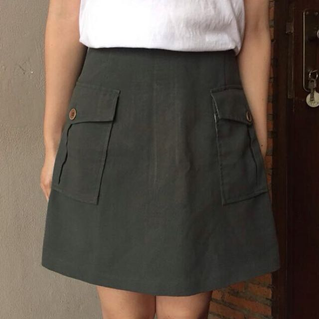 A-Line Green Army Skirt