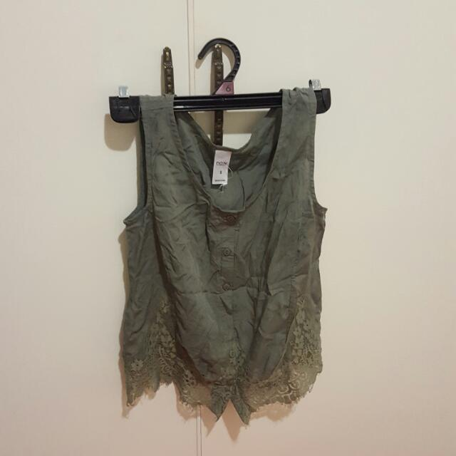 Army Green Sleeveless Lace Bottom Top