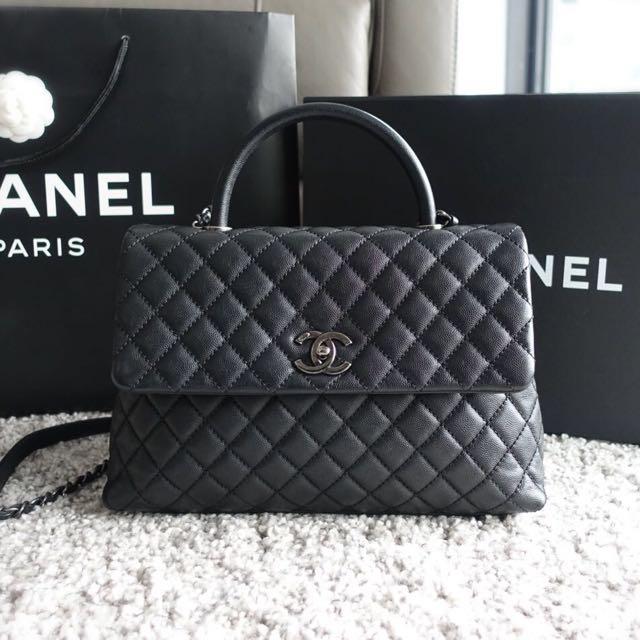 d94fb3863bcd Authentic Large 33cm Chanel Coco Handle Black Caviar, Luxury, Bags ...