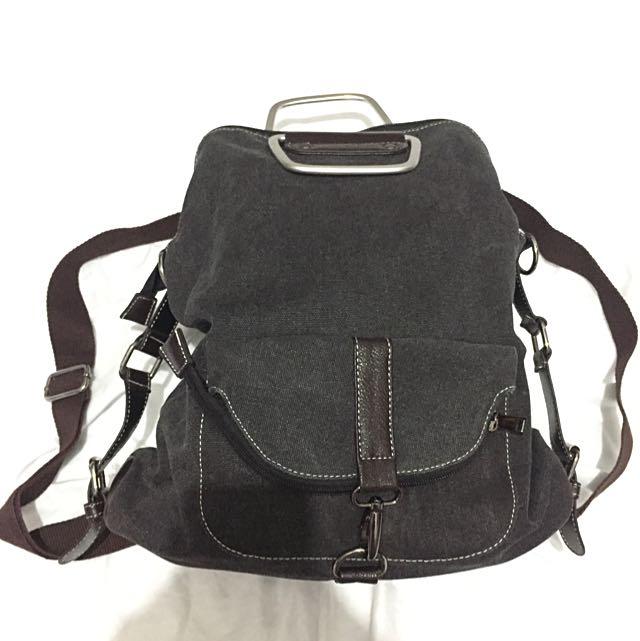 Black Denim Medium Backpack/Tas