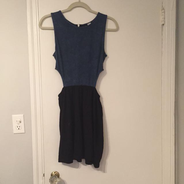Blue And Black Cutout Dress