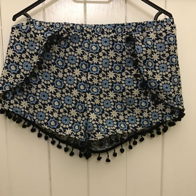 Blue And White Pattern Shorts