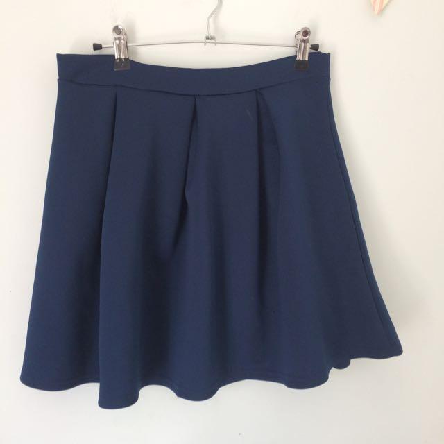 Blue Pleated Skater Skirt
