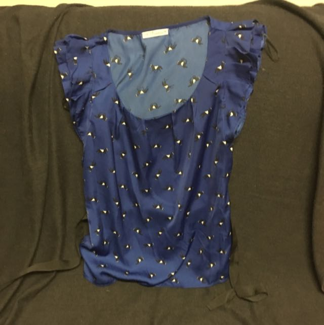 Blue Women Shirt With Horse Pattern