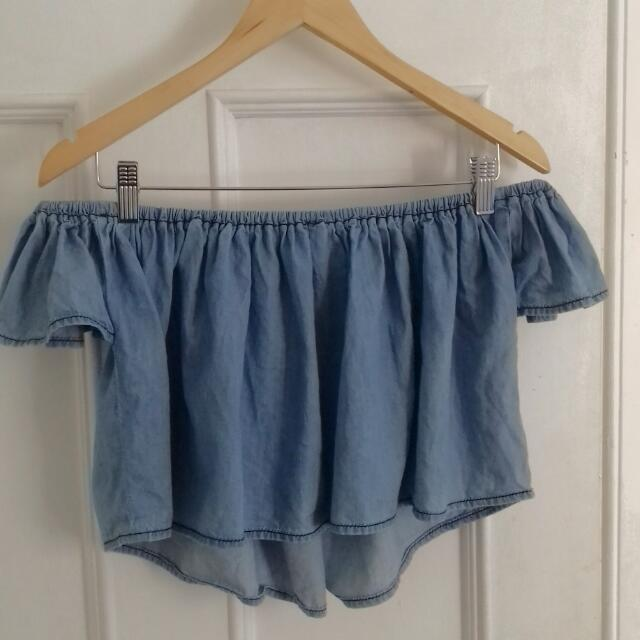 Cute Off The Shoulder Denim Crop