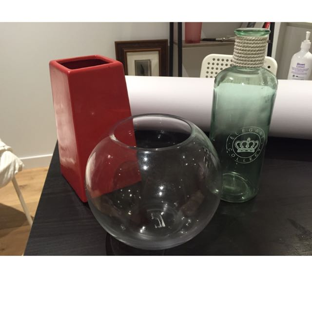 Fish Bowl And 2 Vase