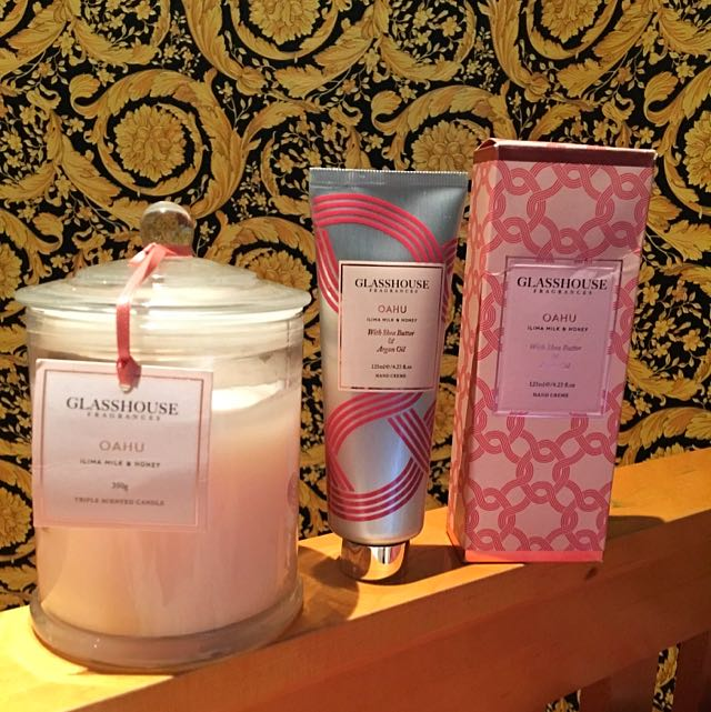 GLASSHOUSE FRAGRANCES Oahu Hand Creme & Triple Scented Candle