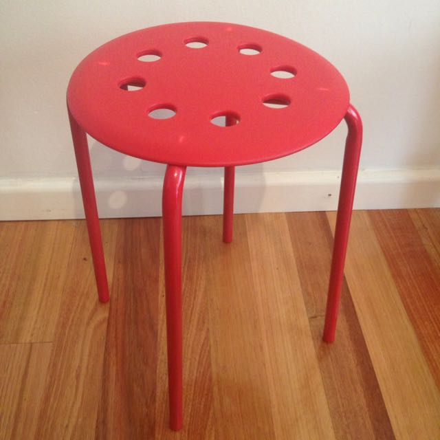 IKEA Marius Stool - Set Of 4 Red Stools