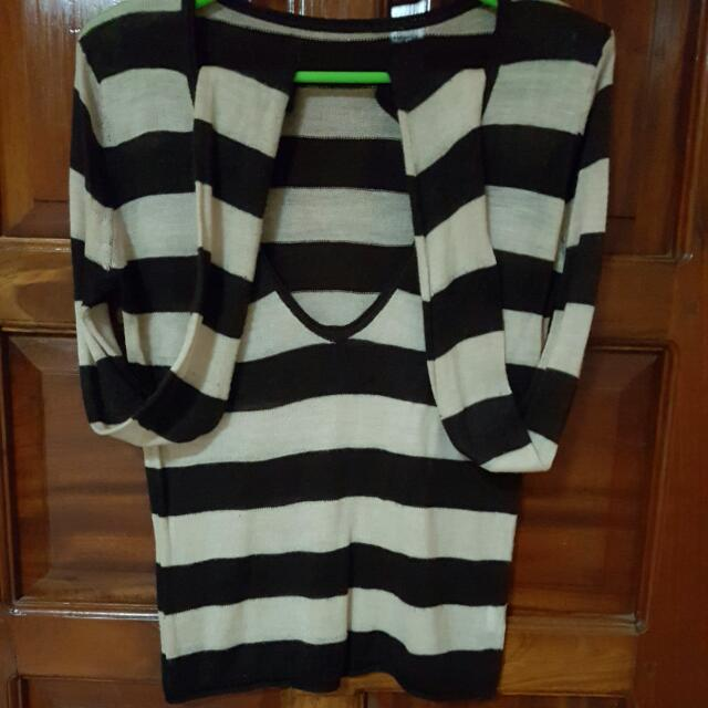 Low Neckline Striped Sweater